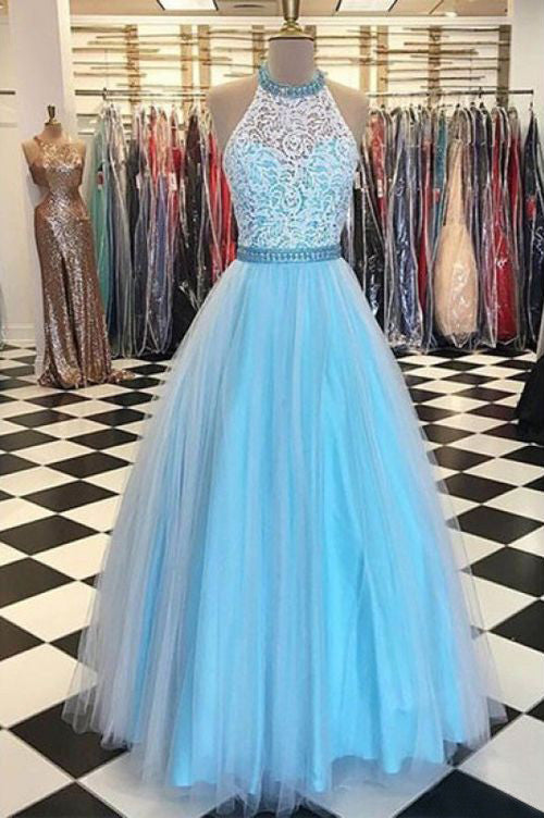 Halter Lace Bodice A Line Long Tulle Prom Dresses Evening Dresses
