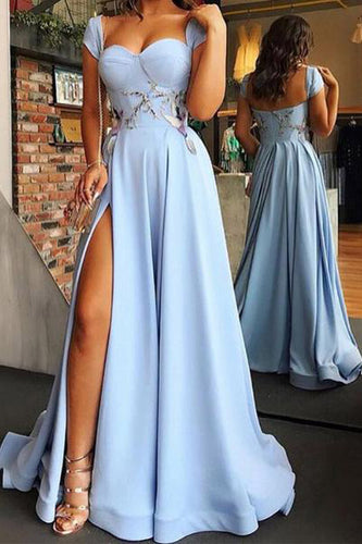 Cap Sleeve Sweetheart A Line Side Slit Satin Blue Long Prom Dresses,Evening Dresses PW299
