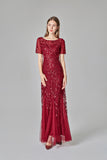 Elegant Mermaid Burgundy Tulle Prom Dresses Round Neck Beaded Long Evening Dresses P1145