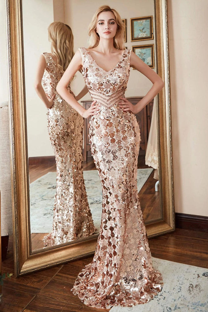 Sexy Mermaid Sequin V Neck Prom Dresses for Women V Back Pink Party Dresses P1182