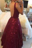 Sexy V-neck Burgundy Backless Floor-Length Lace Prom Dress with Beading PM935