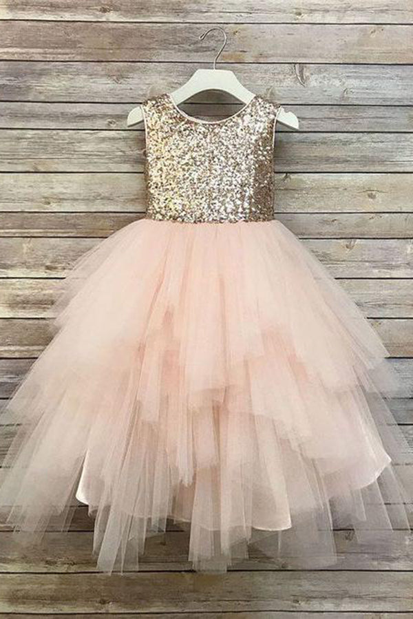 0e39dd818 Princess A Line Gold Sequin Round Neck Blush Pink Cute Tulle Baby Flower  Girl Dress uk
