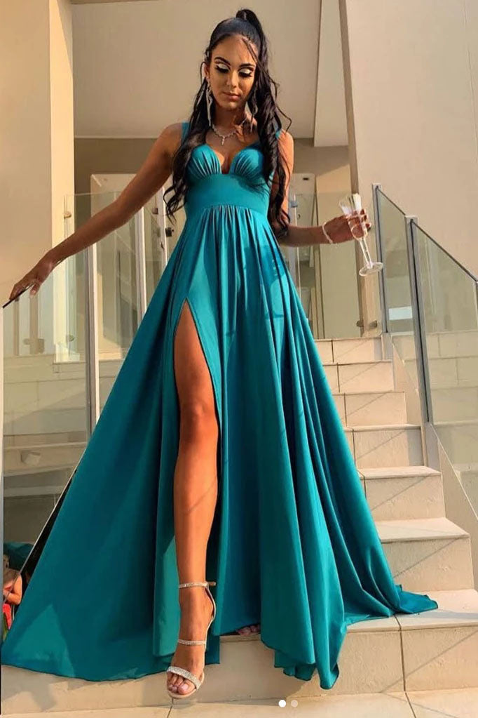 Elegant Green A Line V Neck Prom Dresses with Split, Long Bridesmaid Dresses P1329