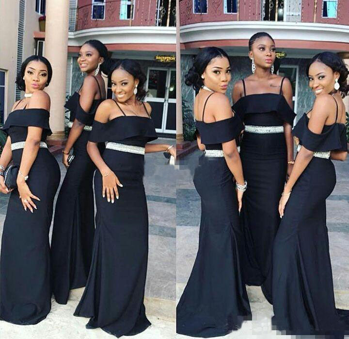 Charming Off the Shoulder Mermaid Dark Navy Blue Bridesmaid Dresses with Belt BD1050