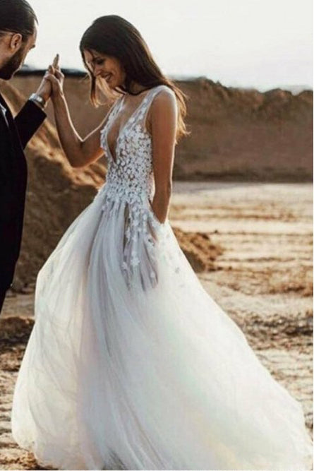 A-Line Deep V-Neck Sweep Train Tulle Ivory Wedding Dress with Appliques Split W1123