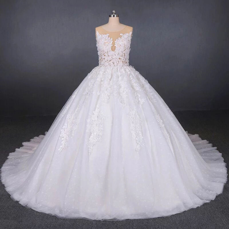 Princess Ball Gown Sheer Neck White Wedding Dresses Lace Appliqued Bridal Dresses W1146