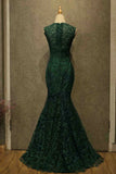 Charming Dark Green Lace Mermaid Straps Prom Dresses, Long Evening Dresses P1574