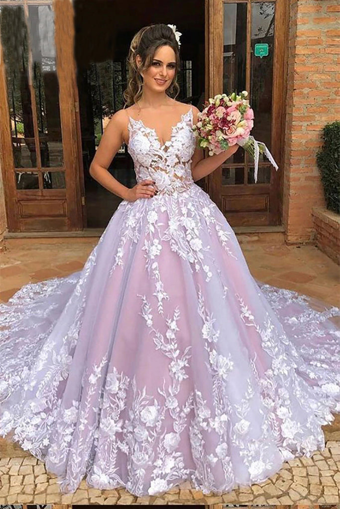Ball Gown Spaghetti Straps V Neck Tulle Prom Dresses with Applique, Pink Wedding Dresses P1281