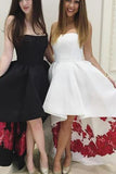 Strapless High Low Black Formal Evening Dress White Prom Dress,Homecoming Dress PM764