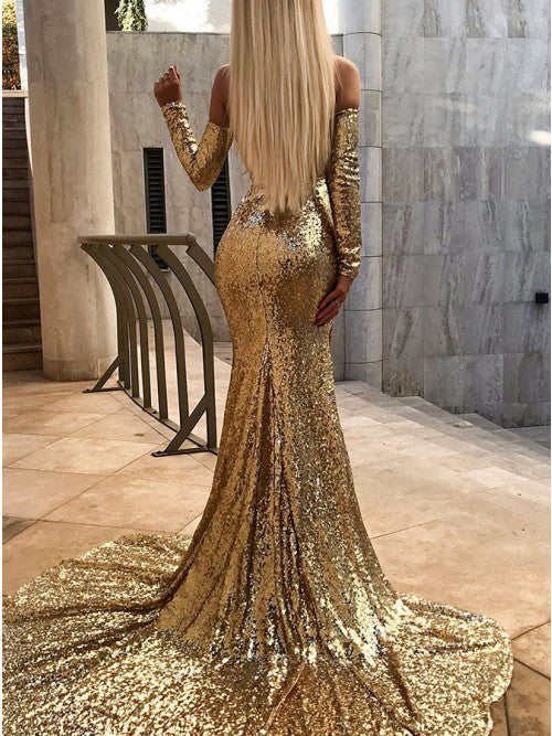 Sexy Mermaid Off the Shoulder Sequins Long Sleeves Prom Evening Dress with Split P1441