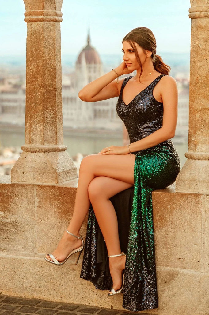 Sexy V Neck Sequin Evening Dress with Thigh High Slit Straps Green Long Prom Dresses P1168
