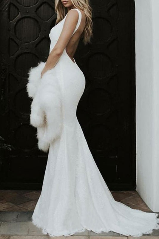 Backless Mermaid Spaghetti Straps Lace Backless Wedding Dresses Beach Bridal Dresses W1115