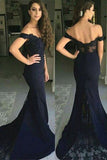 Mermaid Off-the-Shoulder Sweep Train Navy Blue Appliques Satin Prom Dresses uk PM404