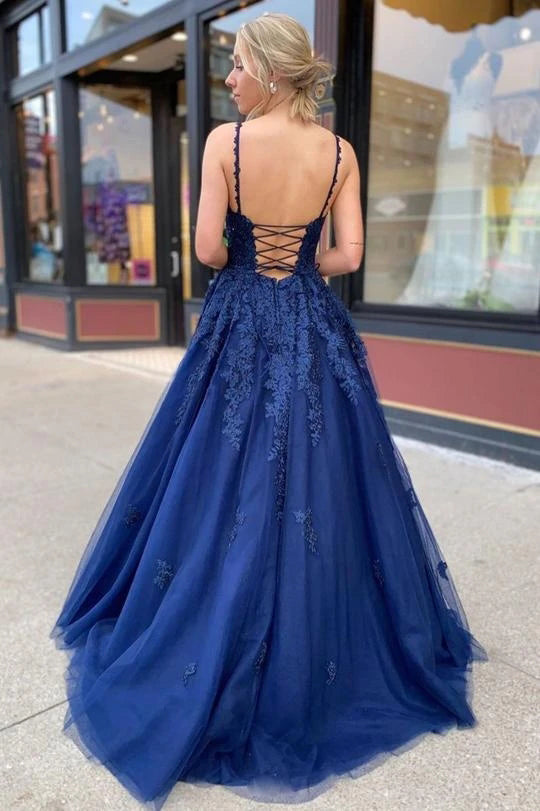 Elegant Spaghetti Straps V Neck Lace Appliques Tulle Prom Dresses with Lace up P1536