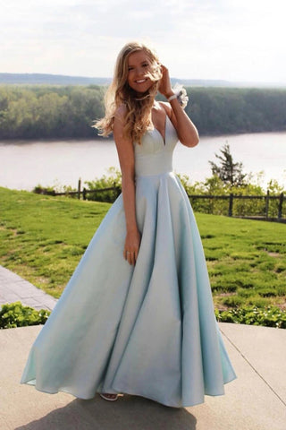 Simple A Line Cheap Spaghetti Straps Satin Prom Dresses, Long Party Dresses P1537