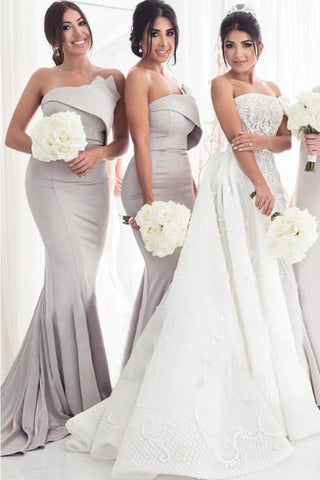 Strapless Silver Mermaid Elegant Long Sleeveless Prom Dresses,Bridesmaid Dresses uk PW64