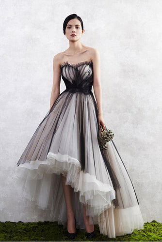 A Line Tulle High Low Sweetheart Strapless Sleeveless Prom Dresses,Homecoming Dresses uk PW25