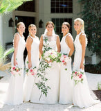 Elegant White Mermaid Chiffon Bridesmaid Dresses, Long Sleeveless Wedding Party Dress BD1031