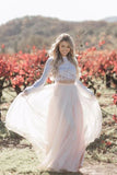 Two Pieces Long Sleeves Lace Appliques Blush Pink Wedding Dresses, Beach Wedding Dress W1224
