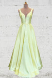 Unique A Line Yellow Satin Prom Dresses with Pockets, Simple Formal Dresses P1501