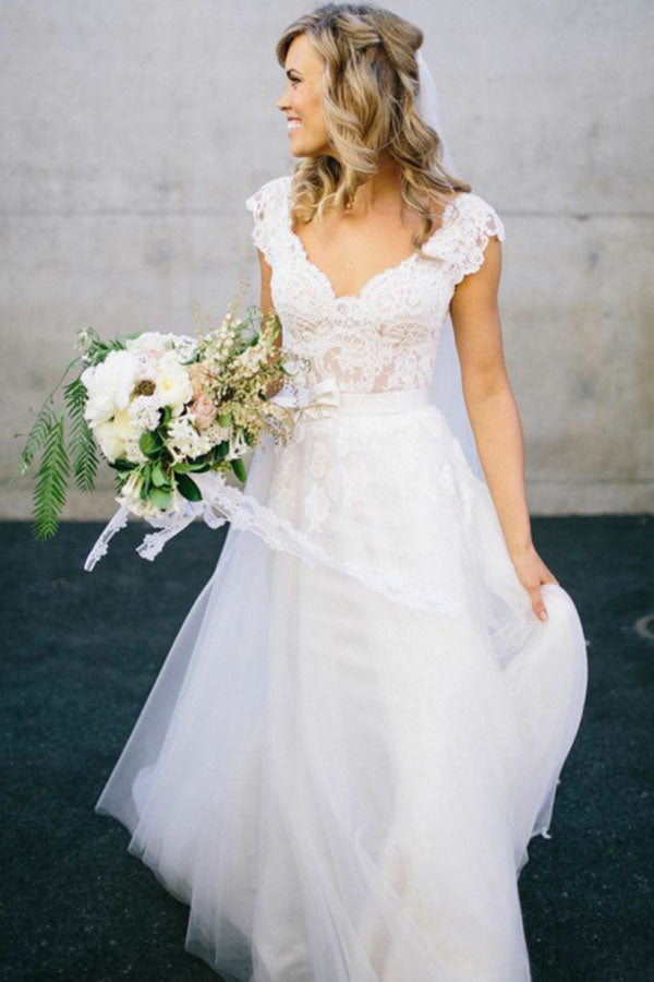 Elegant A-Line V Neck Cap Sleeves Tulle Appliques White Wedding Dresses with Lace PH713