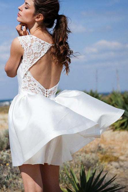 A Line Round Neck Open Back Short Beach Wedding Dress with Lace Pockets W1122