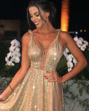 Charming Gold Sequins V Neck A Line Backless Prom Dresses, Formal Dresses P1499