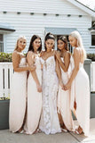 A Line Chiffon Spaghetti Straps Blush Pink Bridesmaid Dresses with Split, Long Prom Dress BD1041