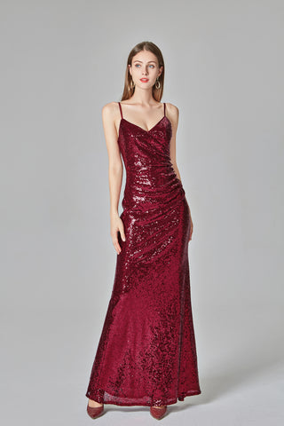 Spaghetti Straps Burgundy Prom Dresses Mermaid Sequins Party Dresses, Dance Dresses XU90811