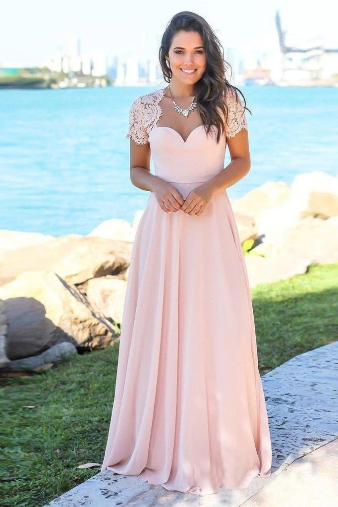 Blush Pink Sweetheart Maxi Dresses Open Back Lace Sleeve Beach Wedding Guest Dresses BD1043