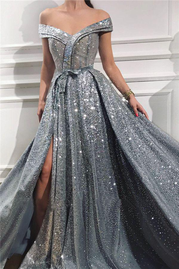 Elegant Sequins Off the Shoulder Sleeveless Prom Dresses, Silver Slit Evening Dresses P1135