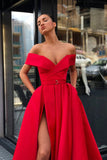 Off the Shoulder Red Satin V Neck Long Prom Dresses, High Slit Party Dresses with Pockets P1288