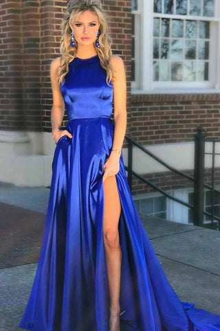 Elegant A-Line Round Neck Royal Blue Satin Open Back Prom Dresses uk with Split Pockets PW11
