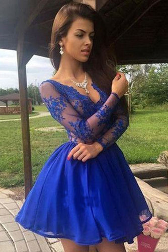 Charming A Line V Neck Long Sleeves Royal Blue Lace Short Homecoming Dresses uk PH979