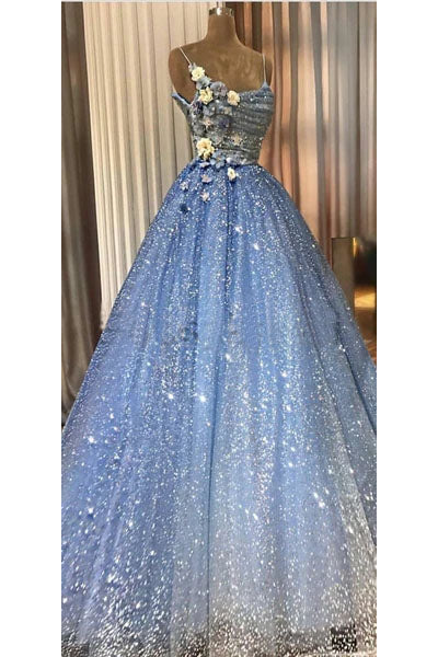A-line Blue Spaghetti Straps Sweetheart Long Prom Dresses, Evening Dresses P1303