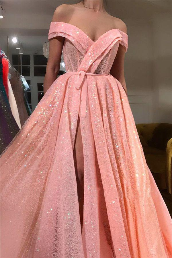 A Line Pink Sequins Off the Shoulder Prom Dresses with Split, V Neck Dance Dresses P1134