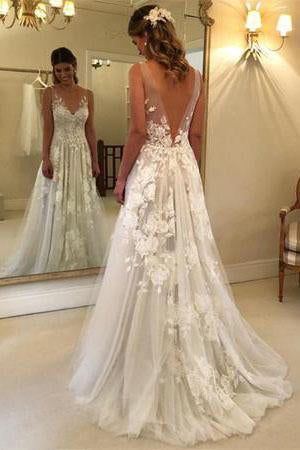 Elegant A-Line V-Neck Tulle Open Back Ivory Wedding Dresses UK with Lace Appliques PW114