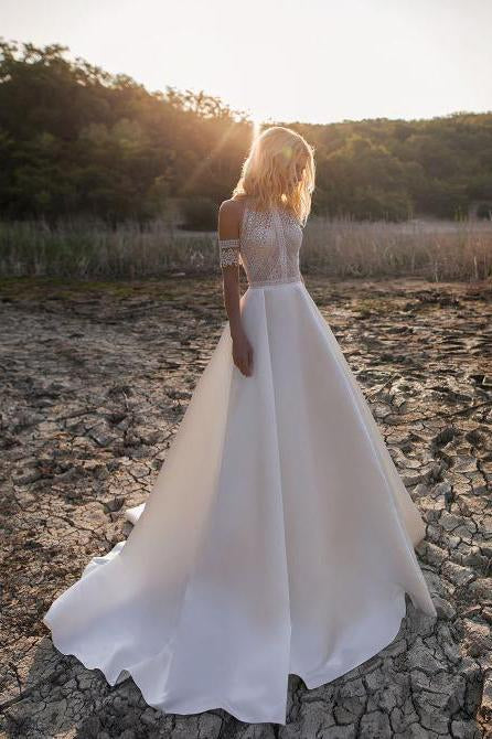 Sexy Lace Appliques High Neck Country Wedding Dresses, Beach Bridal Dresses W1234