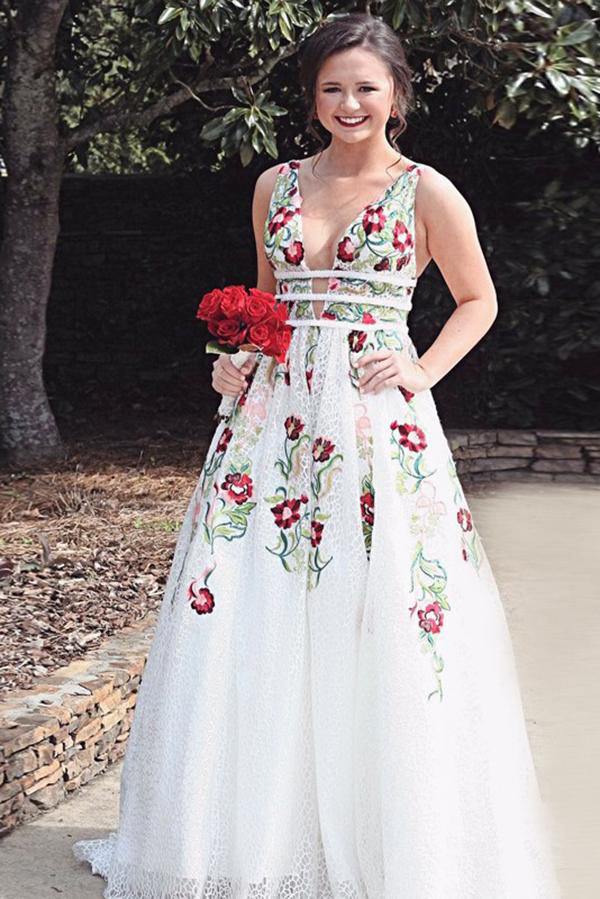 A Line Deep V Neck Ivory Lace Backless Embroidery Party Dresses, Printed Prom Dresses PW191