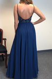 A Line Spaghetti Straps V Neck Chiffon Royal Blue Prom Dresses with Slit Beads Formal Dress P1214