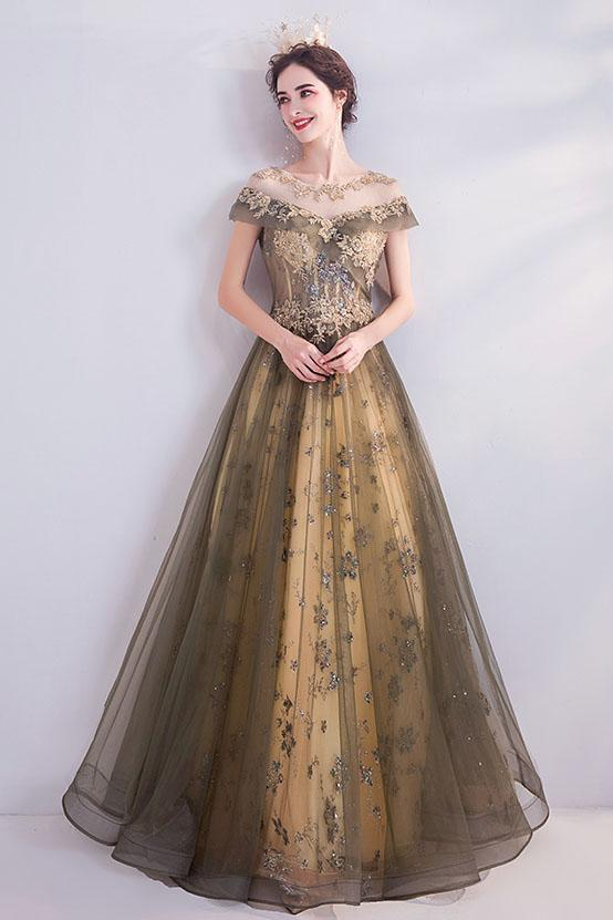 Elegant Round Neck Sequins Tulle Appliques Prom Dresses with Short Sleeves, Dance Dresses P1377