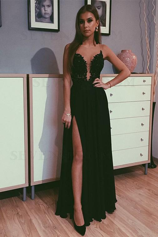 A Line Black Beads Chiffon Prom Dresses with Appliques Split Long Evening Dress P1503