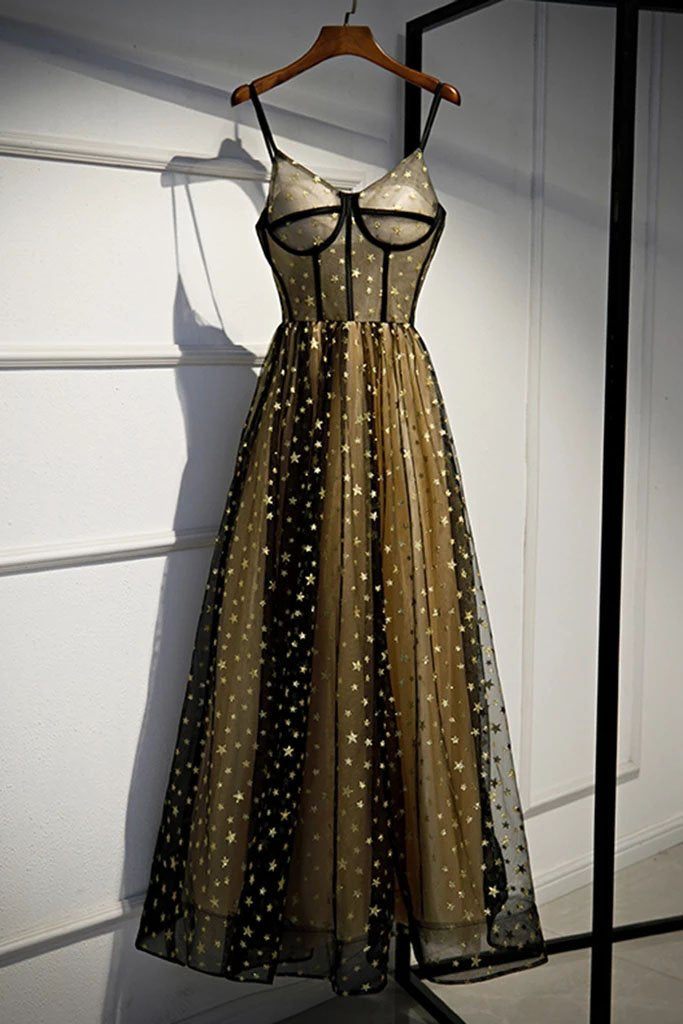 Charming Spaghetti Straps Sweetheart Black Tulle Prom Dresses with Stars, Party Dresses P1353
