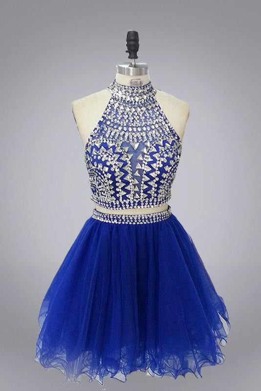 Halter High Neck Beaded Bodice Two Piece Fall Gary Tulle Open Back Homecoming Dress PM314