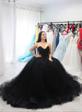 Sweetheart Tulle Ball Gown Black Formal Prom Dresses, Sleeveless Lace up Evening Dresses P1254