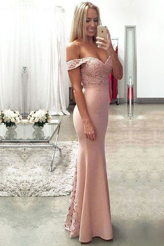 Lace Elastic Satin Off-the-shoulder Mermaid Sweetheart Floor-length with Ruffles Prom Dresses uk PM633