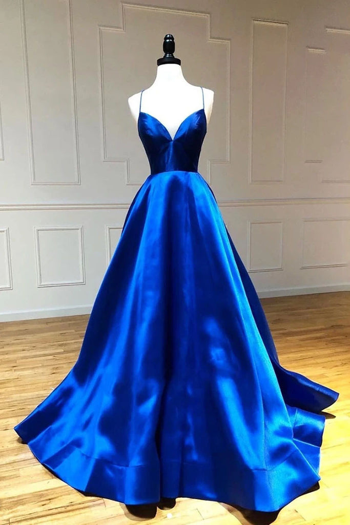 Simple A Line Satin Spaghetti Straps Royal Blue Long V Neck Prom Dresses P1488