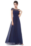 Elegant Lace Cap Sleeve Tulle Evening Gowns Open Back Bateau Long Prom Dresses P1172