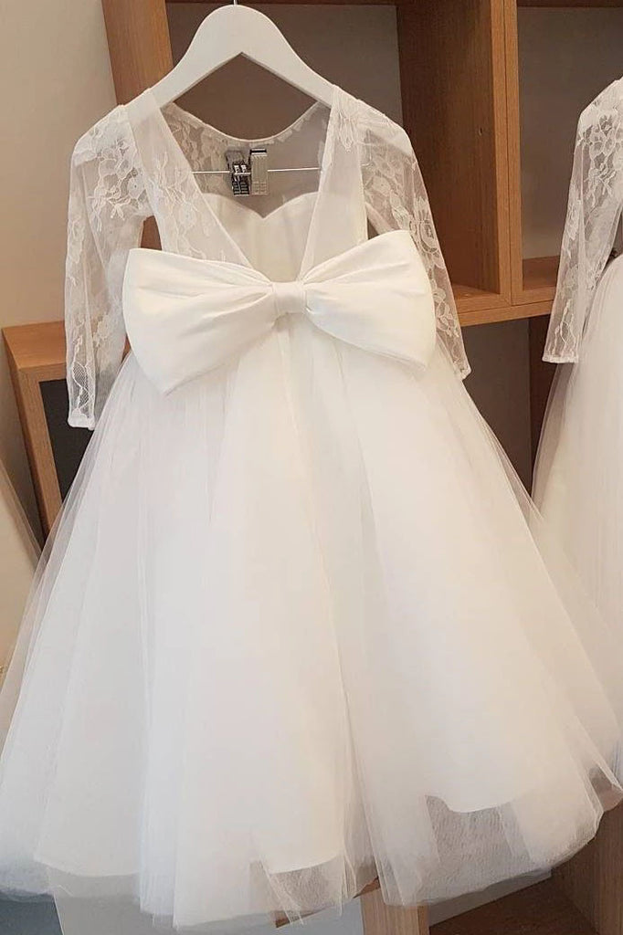 Ball Gown Lace Long Sleeves Flower Girl Dress With Bowknot Back, Round Neck Baby Dresses FG1015