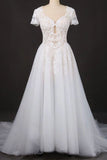 A-line Short Sleeves Beads V Neck Lace Applique Wedding Dresses, Bridal Dress W1142